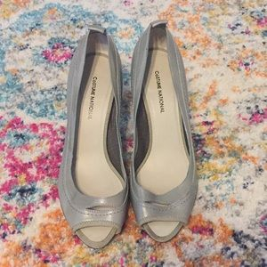 Costume National gray peep toe heels size 38